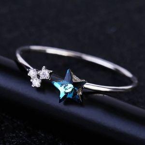 NEW Silver Blue Crystal Star Adjustable Ring